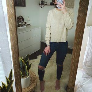 H&M Cream Cropped Sweater